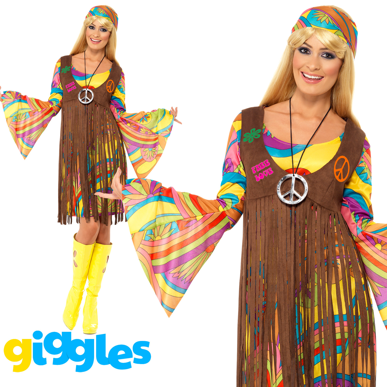 hippy costume 60s 1970s flower power hippie womens ladies fancy dress outfit ebay. Black Bedroom Furniture Sets. Home Design Ideas